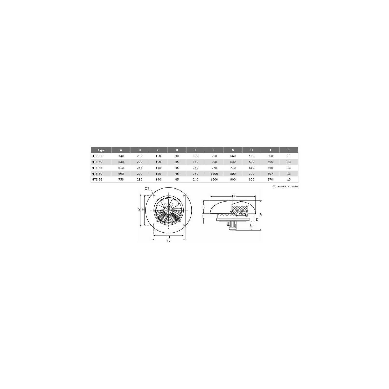 Tourelle de toiture hélicoïde Ø45T412
