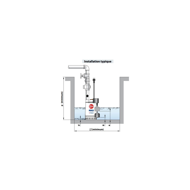 Pompe de relevage eaux pluviales inox monophasé 220V - 0.55Kw 180L/min - roue vortex avec flotteur vertical