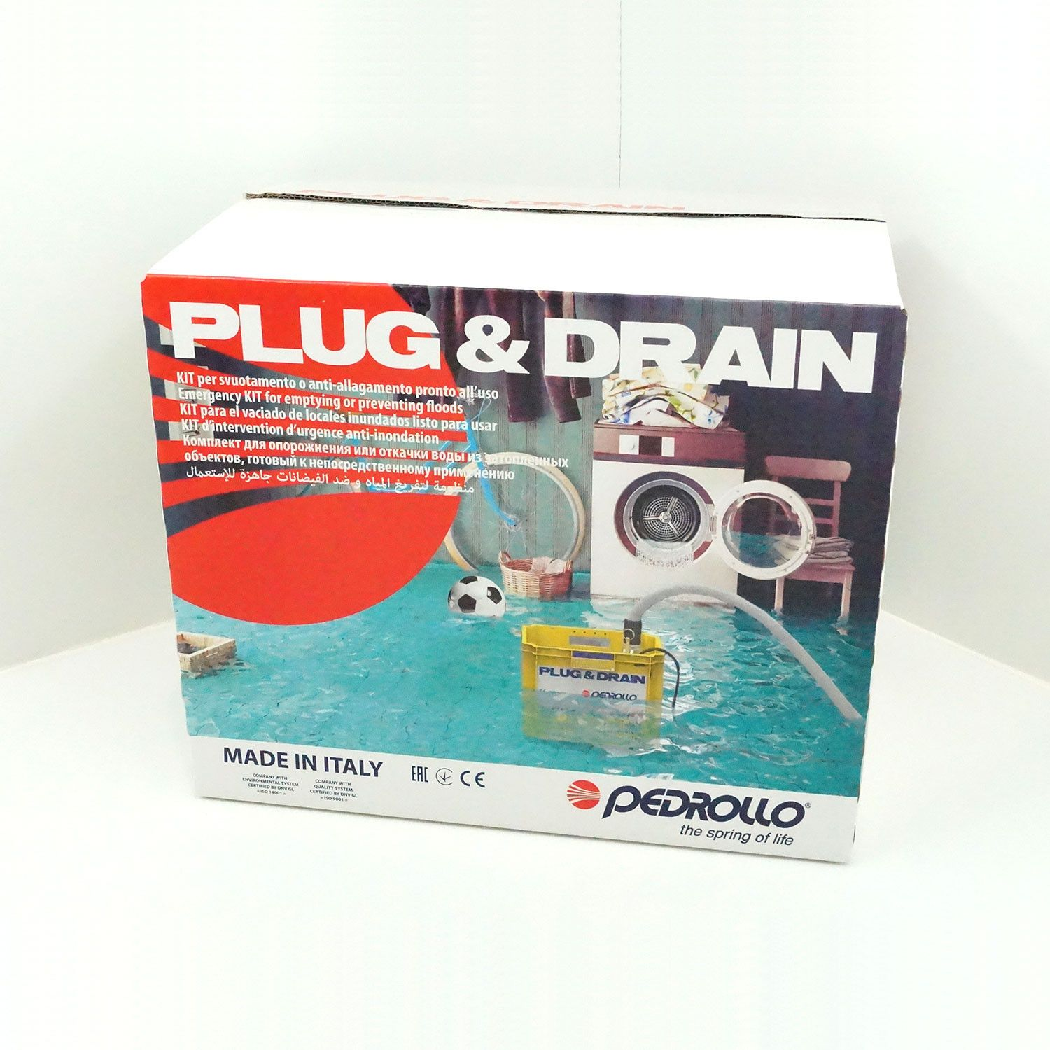 Kit d'intervention d'urgence anti-inondation Pedrollo Plug & Drain