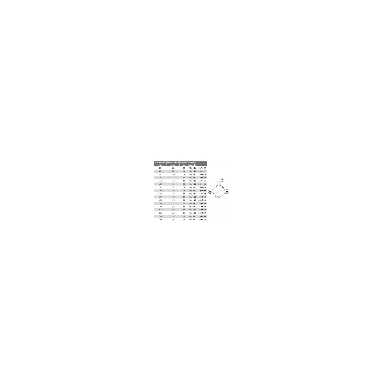 Collier à vis avec rondelles imperdables - acier zingué Ø90