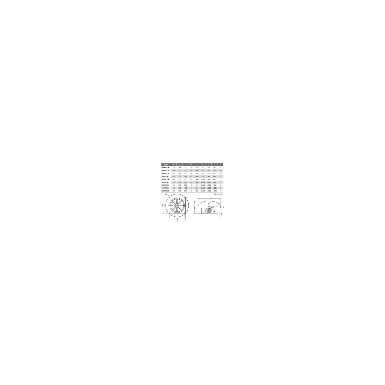 Tourelle de toiture hélicoïde Ø71T43