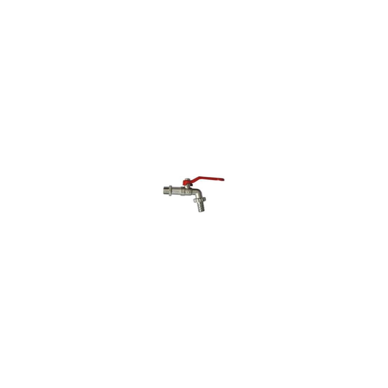 Robinet de puisage nickelé à sphère, poignée acier rouge, 1/2'x3/4' - Tétine Ø15