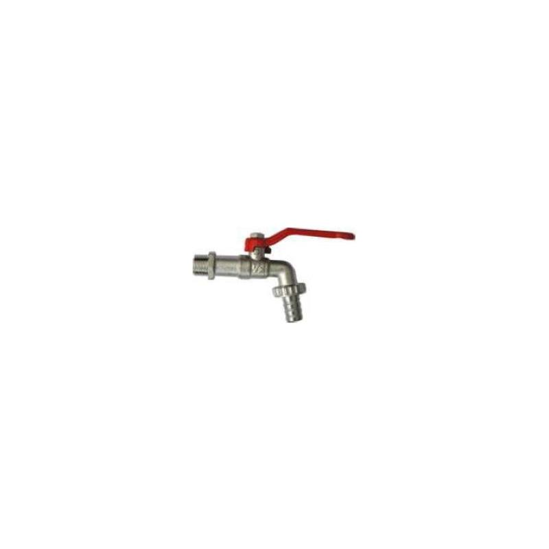Robinet de puisage nickelé à sphère, poignée acier rouge, 3/4'x1' - Tétine Ø20