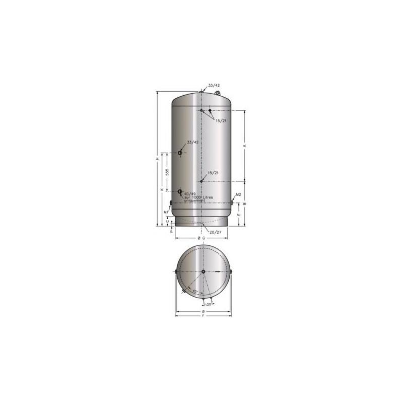 Réservoir galva type A.C.S 1500 litres