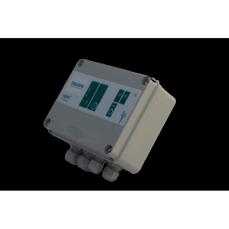 Coffret de commande 400V, protection et contrôle de niveau.