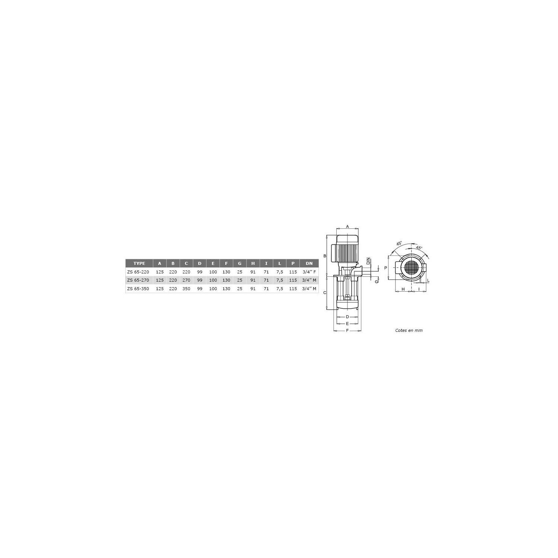 Pompes centrifuge roue ouverte H220mm basse pression 380V - 0.5Kw