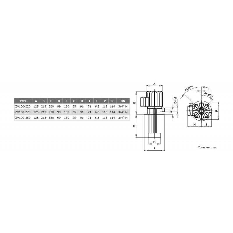Pompes centrifuge roue ouverte H270mm basse pression 380V - 0.37Kw