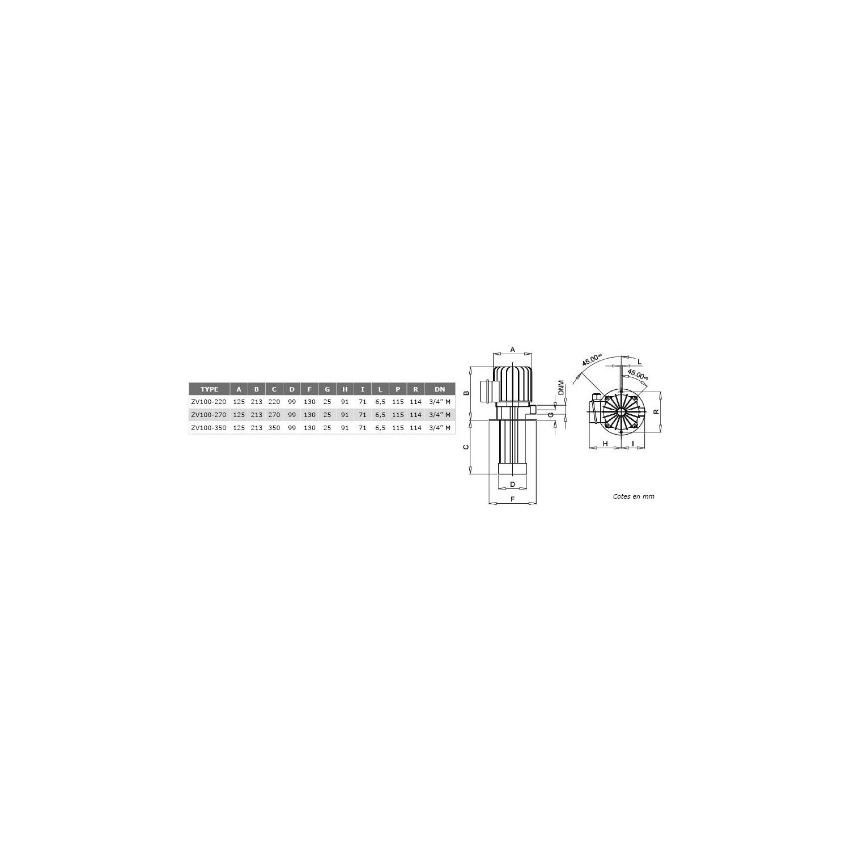 Pompes centrifuge roue ouverte H350mm basse pression 380V - 0.37Kw