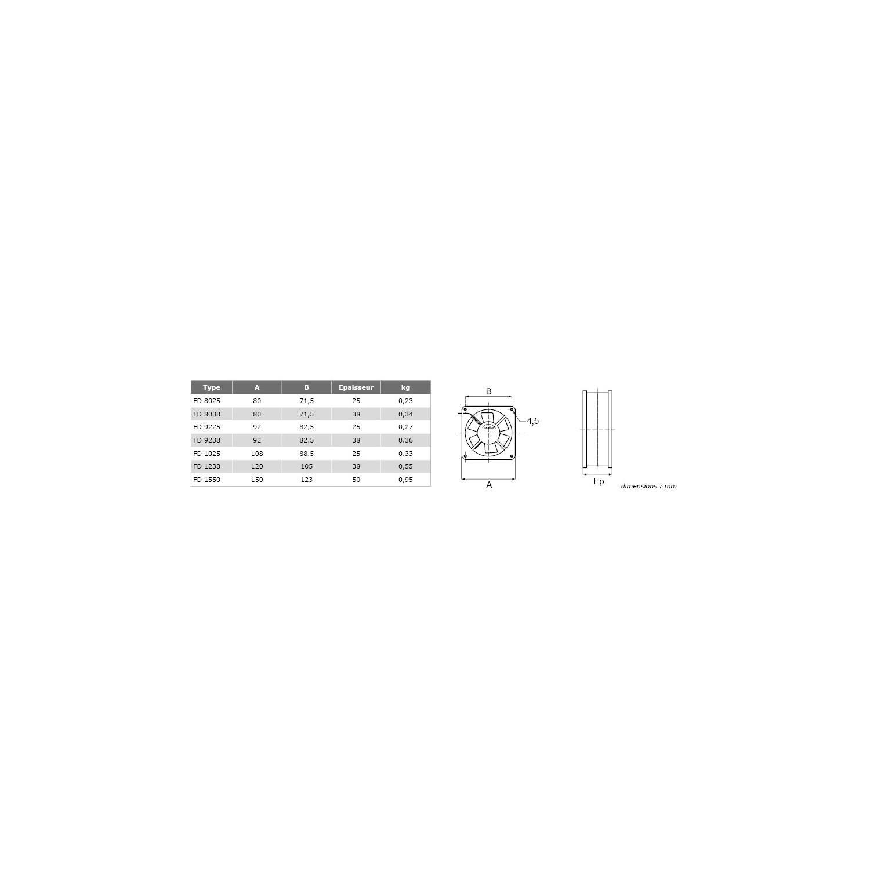 Ventilateur axial silencieux FD Carré 92x25