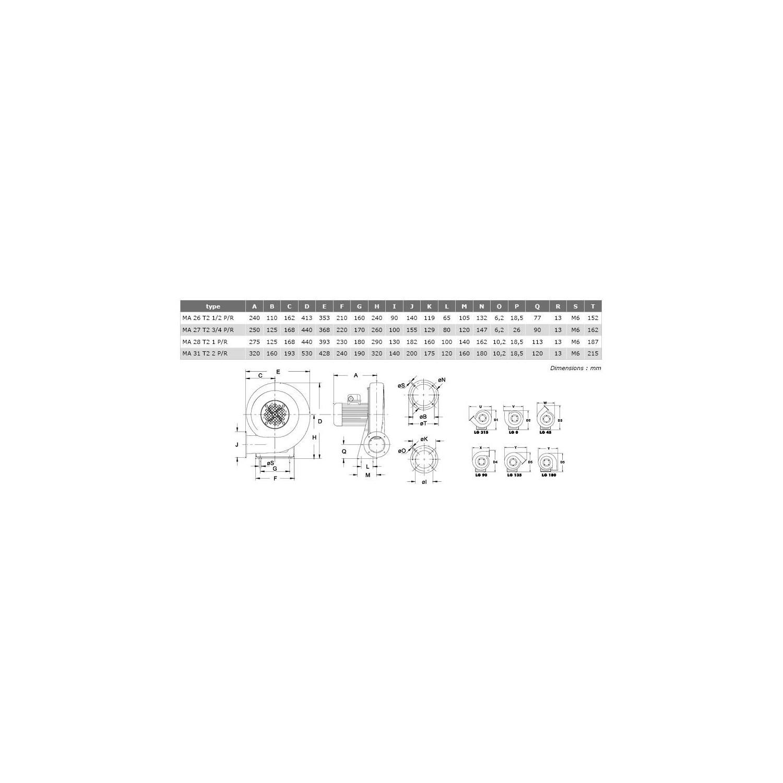 Ventilateur centrifuge moyenne pression  MA Ø27T234PR