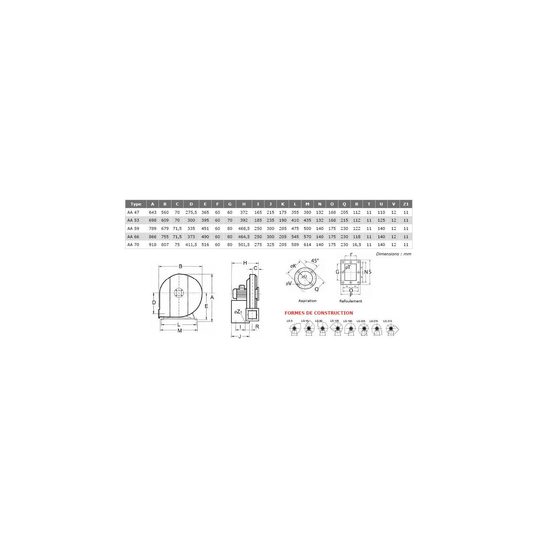 Ventilateur centrifuge haute pression AA Ø47T2 3/4
