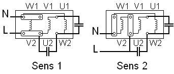 Câblage pour inversion de sens de rotation pour moteur mono 220v